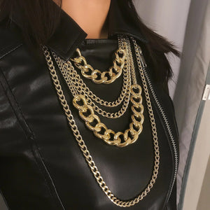 Muti layered Chain Necklace - Gold