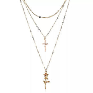 Gold Chain Choker Virgin Mary Rose Pendant