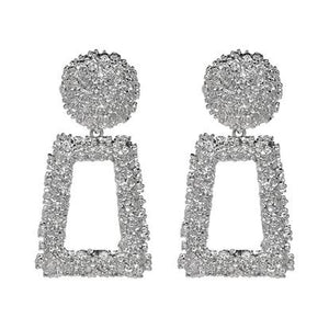 Open Rectangle Textured Drop Earrings - Sliver