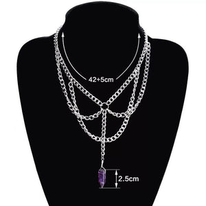 Layered Gothic Crystal Necklace