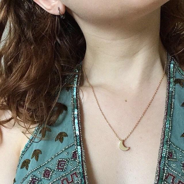 Crescent Moon Gold Necklace Half Moon Nature Pendant