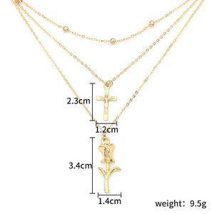 Layered Cross and Rose Necklace in Gold