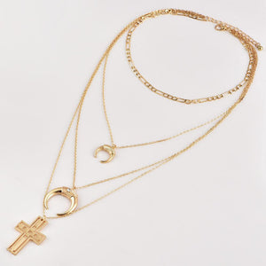 Layered Moon and Cross Necklace