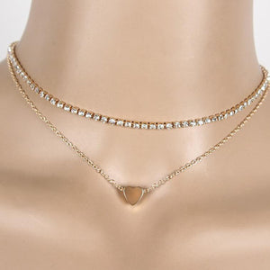 Crystal Choker and Gold Heart Necklace
