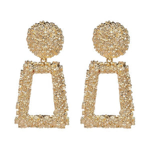 Open Rectangle Textured Drop Earrings - Gold