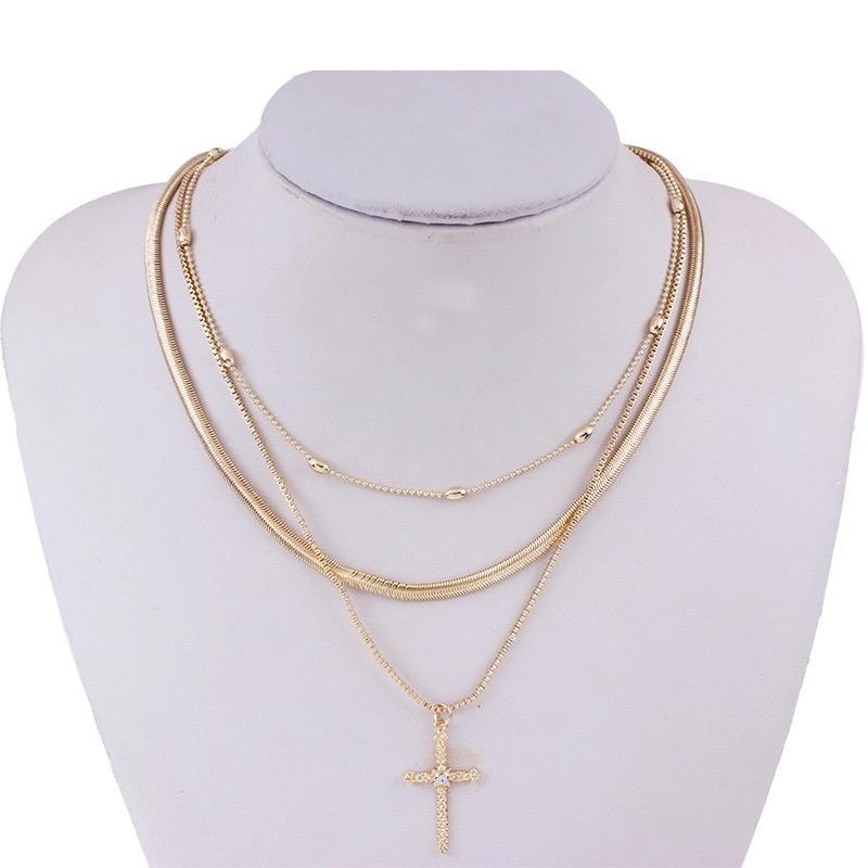 Gold Snake Chain Cross Necklace