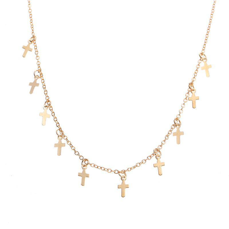 Gold Cross Chocker Necklace