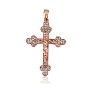 Diamante Budded Cross Necklace