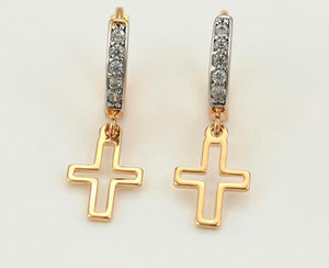 Cross Drop Earring with Crystals