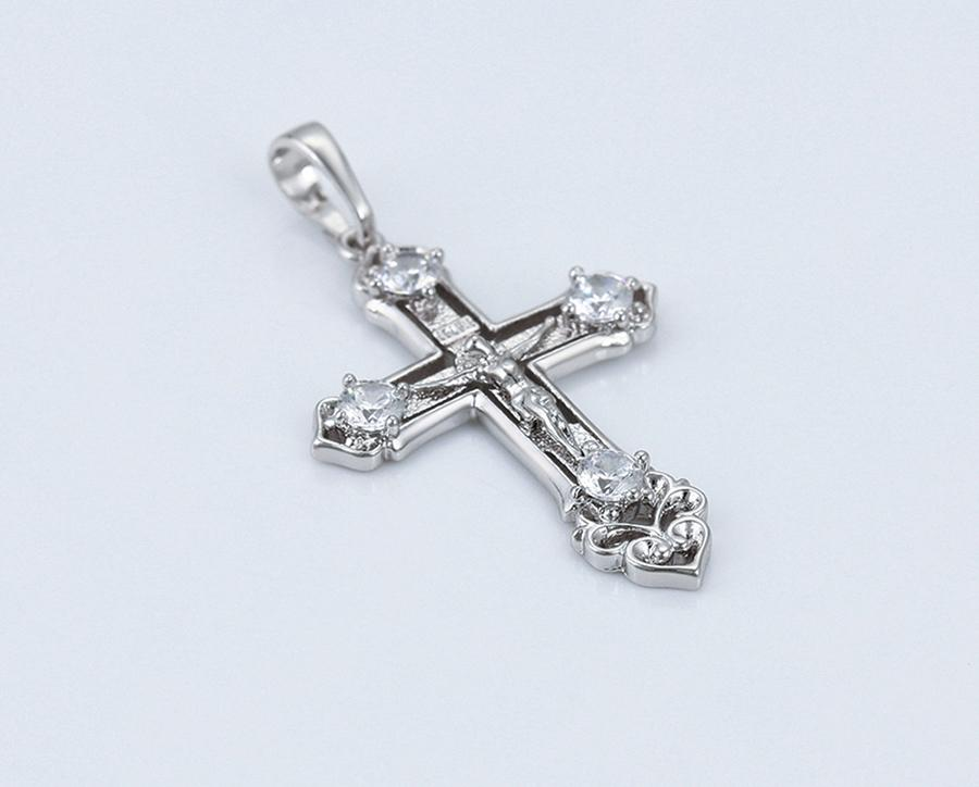 Silver Assyrian Crystal Cross Necklace