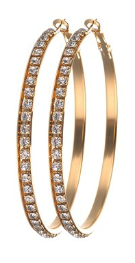 Diamond Covered Hoop Earrings