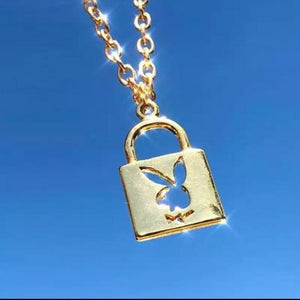 Playboy Bunny Lock and Key Necklace