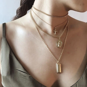 Layered Cross, Saint and Gold Bar Necklace