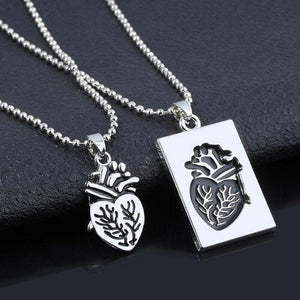 His & Hers Heart Charm Necklace - Silver