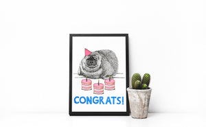 Congrats! A5-A3 Fine Art Print SEAL Illustration