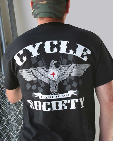 Cycle Society T-shirt (Back View) | Men's Tee shirts | Custom t-shirts