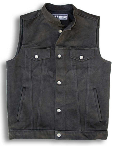 denim motorcycle vest front