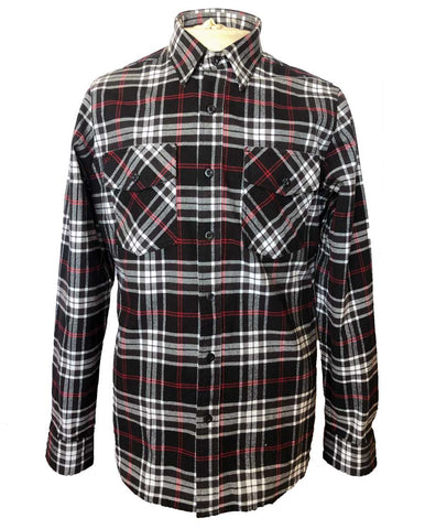 Mens Flannel shirt black red white