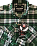 mens green plaid flannel antimicrobial