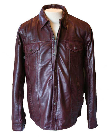 Dark Red Leather Shirt (front view)