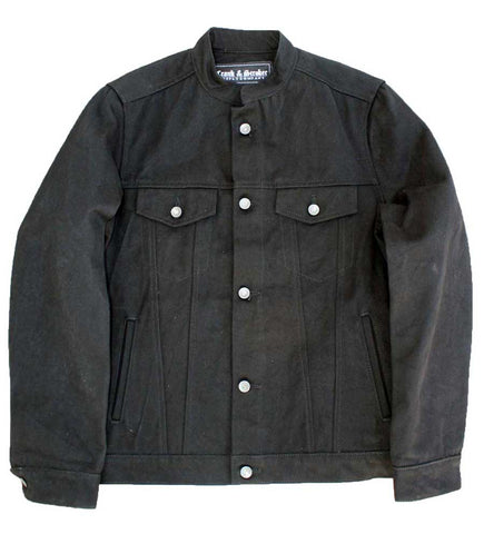 black denim motorcycle jacket front