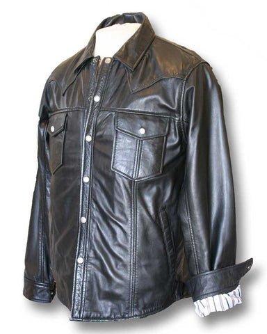 Black Leather Western shirt  (side view)