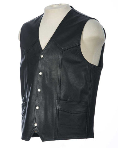 Black leather western vest front