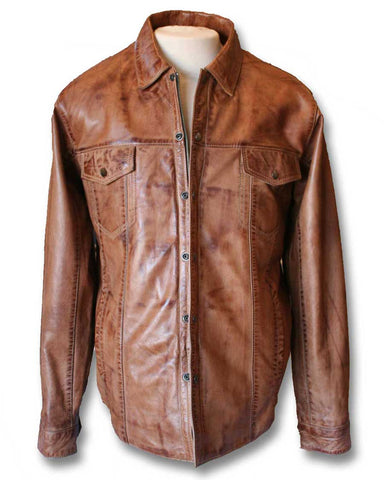 brown leather shirt mens front