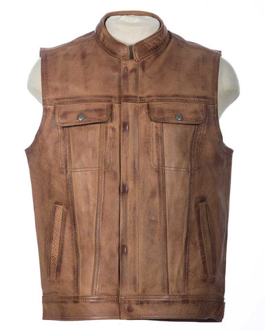 brown club motorcycle vest |  leather vest | sleeveless leather jacket