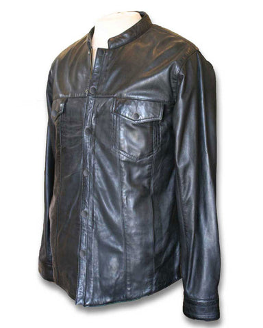 black leather shirt