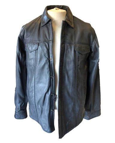 graphite leather shirt