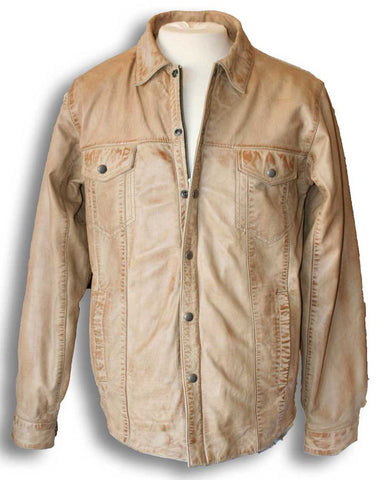light brown leather shirt front