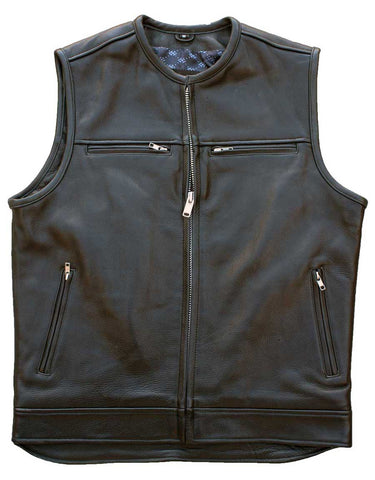 Leather motorcycle vest (Front View)