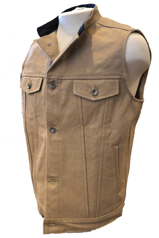 Tan denim motorcycle vest (Side View)