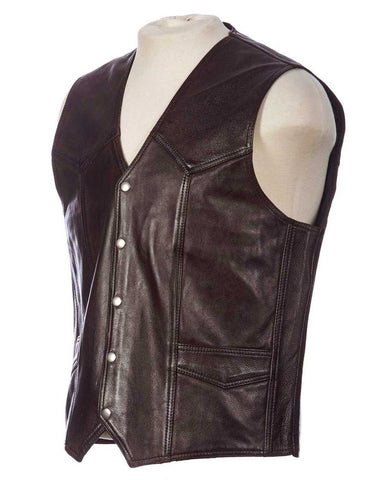 brown leather western vest