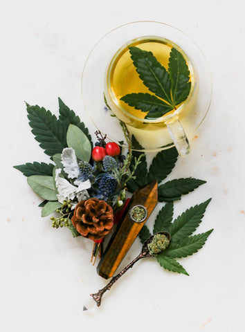 cannabis-drink-with-marijuana-leaf-inside-and-assorted-plant-material-around