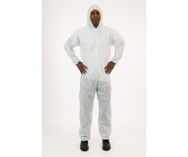 International Enviroguard White SMS Coverall with Hood, Size Medium, case of 25