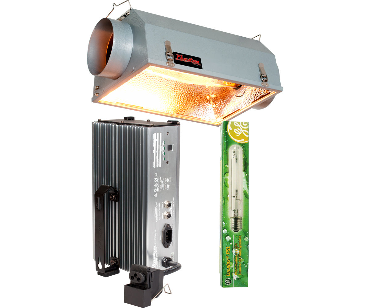 "Phantom 6"" Air-Cooled Reflector w/Phantom 750W 120V/240V Dimmable Digital Ballast & GE Lucalox 750W PSL HPS Lamp"