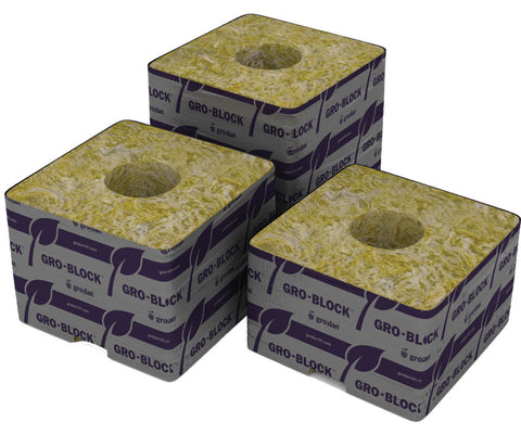 "Grodan Pro Delta 4 Block, 3"" x 3"" x 2.5"" with hole, case of 384, Commercial"