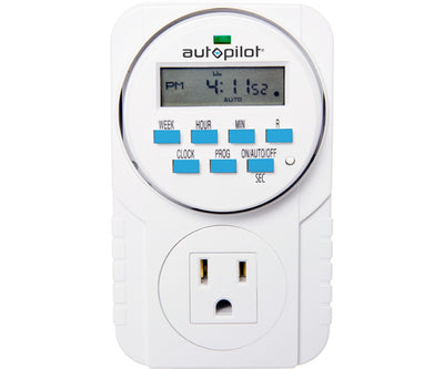 Autopilot 7-Day Grounded Digital Programmable Timer, 1725W, 15A, 1 Second On/Off, 8 On/Off Cycles