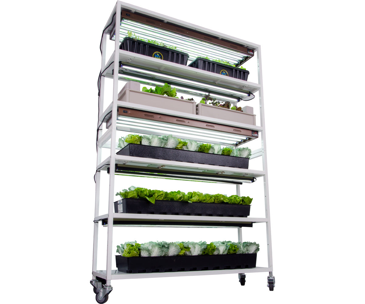 Vertical Grow Shelf System, 6 Shelves, w/Casters