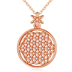 925 Sterling Silver Flower of Life Mandala in Rose Gold Plated Pendant