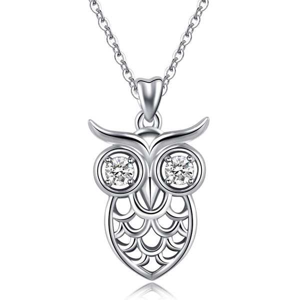 925 Sterling Silver Shiny Owl Pendant