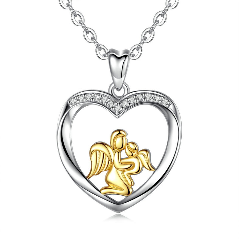 925 Sterling Silver Mother and Baby Angels Pendant