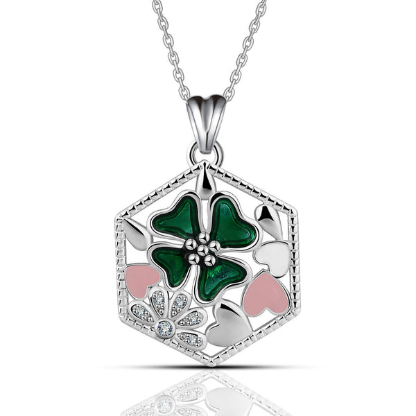925 Sterling Silver Luck In Love Four Leaf Clover