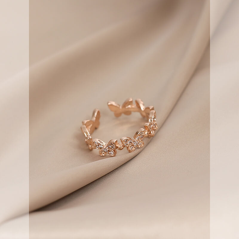 Ins Style Adjustable Butterfly Zircon Ring