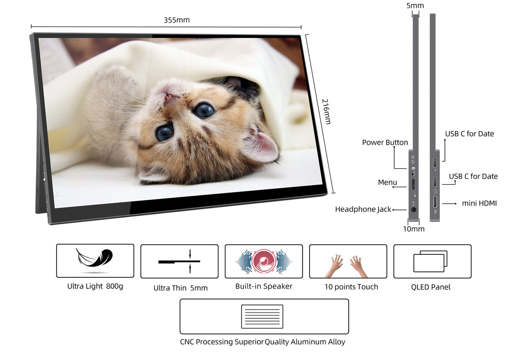specification of qled portable monitor