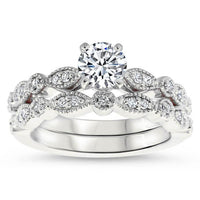 Vintage Inspired Engagement Ring and Wedding Band - Sweet Bliss Wedding Set - Moissanite Rings