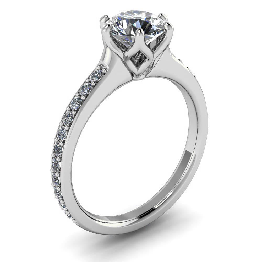 Six Prong Moissanite Engagement Ring Diamond Setting - Made