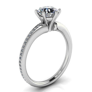 Six Prong Diamond and Moissanite Engagement Ring - Ariel